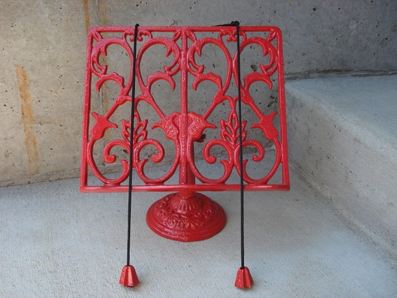 Painted Cast Iron Ornate Cook Book /Book Stand