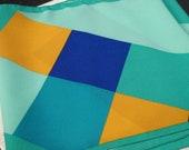 Geometry Lessons vintage scarf blue green yellow tetris retro geometric
