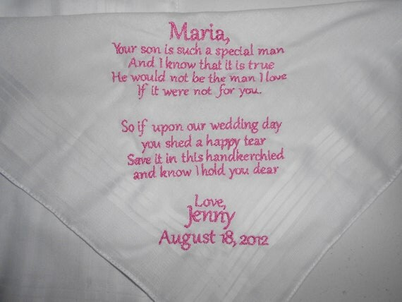 Personalized Handkerchief with long poem or note in 1 quad