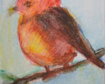 Original ACEO Watercolor Painting- Red Bird