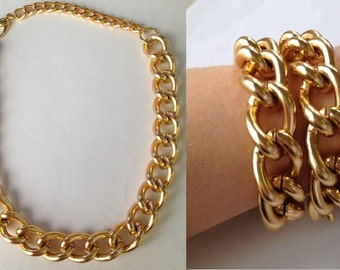 Chunky Gold Chain Link Statement Necklace Bracelet chunky necklace statement jewelry RICH GIRL