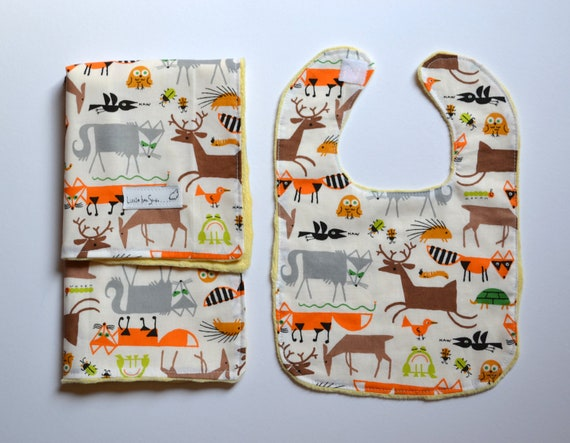 Baby Bib and Burp Cloth set made with Forest Friends Organic Fabric designed by Ed Emberley for Cloud 9
