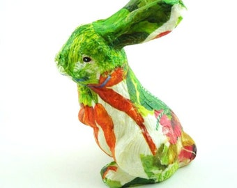 French Country Style Bunny Figurine. READY to SHIP. Springtime. Decoupage Rabbit.. Gardner Gift.  Nursery Decor. English Style.