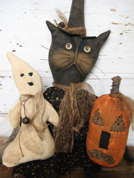 Primitive Grungy Spooky 3 Some Witch Cat ,Ghost and Pumpkin