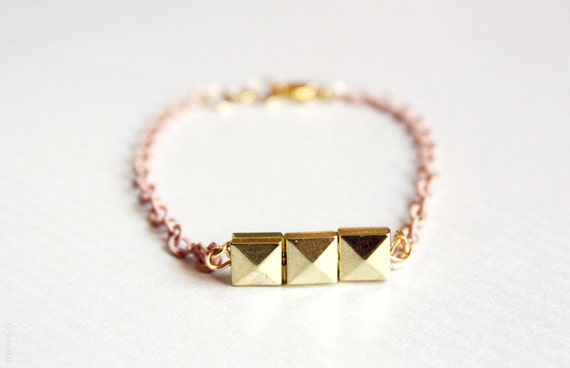 rose - gold pyramid squares and pastel pink chain - delicate layering bracelet