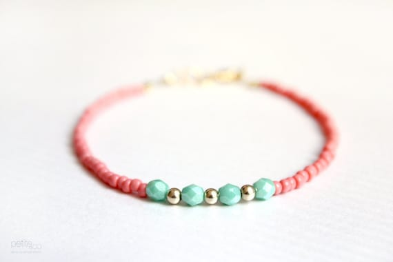 mint coral beaded friendship bracelet (B037) gift for her under 20 - gold filled jewelry