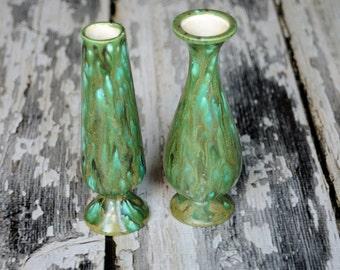 Vintage handmade single stem flower vase set of 2