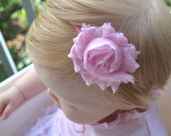 Pick any color Shabby Flower on Skinny Elastic Headband, Newborn Headband, Baby Girl Baptism, Toddler Headband, Baby Photo Prop.