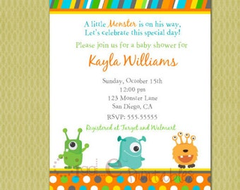 Monster Baby Shower Invitation - Free thank you card included