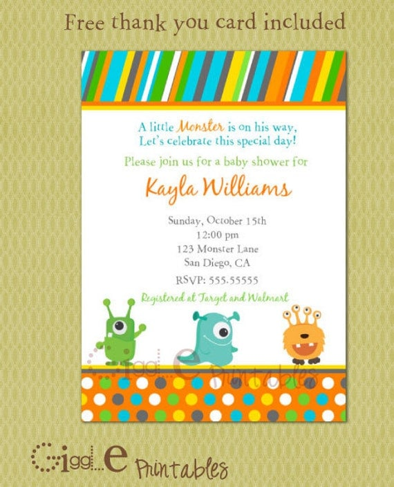 Items similar to Monster Baby Shower Invitation - Free thank you card included on Etsy