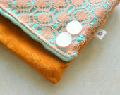 Fold over zip clutchie - Coral Lace, Aqua and Burnt Orange