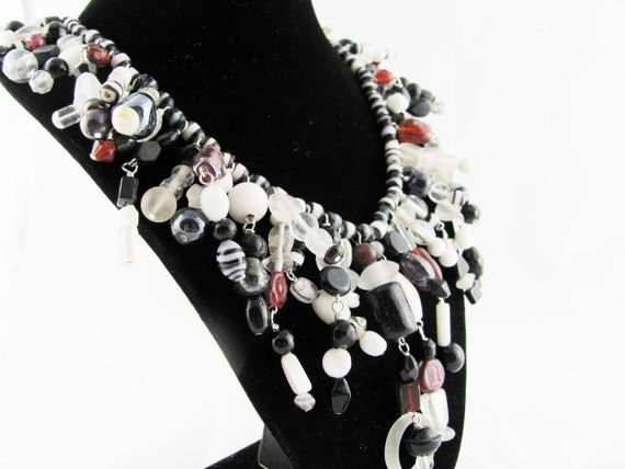 Glorious Collar Necklace of Black White Clear and Red Glass Beads OOAK