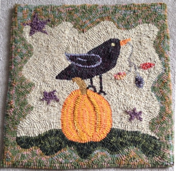 Pumpkin and Crow Primitive Hooked Rug