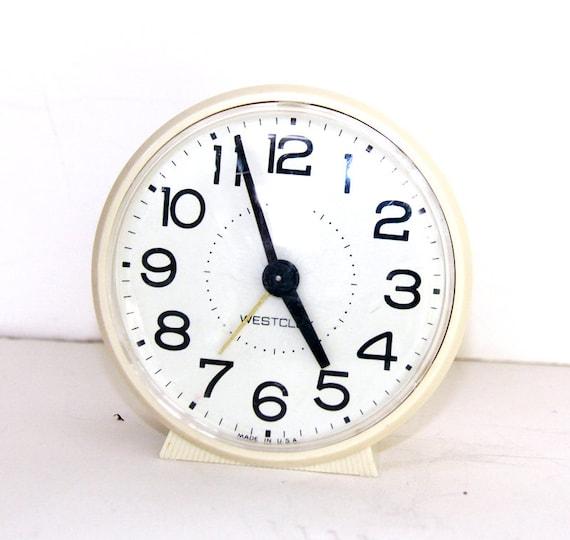 Vintage Wind Up Alarm Clock - Beige Westclox Clock Mechanical - Retro ...