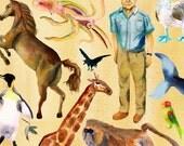 David Attenborough and Animals Portrait - Glicee Print