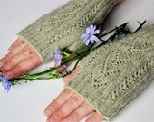 Lace  Fingerless Gloves, Green, Made To Order