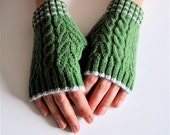 Cashmere, Fingerless Gloves, Hand Warmers, Green, Made To Order