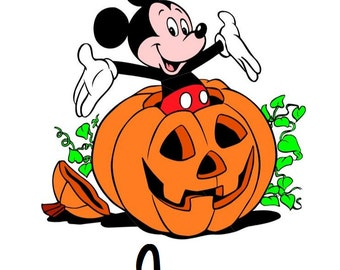 Custom Personalized Disney Mickey Mouse Jack o Lantern Iron on Transfer Decal(iron on transfer, not digital download)