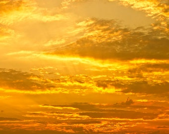 Golden Sky photo Digital Download Yellow Sky Fine Art Photography Clouds Sun Rays photo dramatic sky picture weather wall art