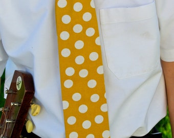Mustard Yellow and Off White Polka Dot Necktie For Men from Greenstyle