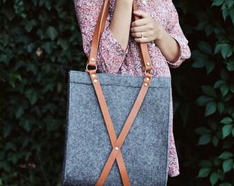 Felt Bag With Leather Handle - Fox bag