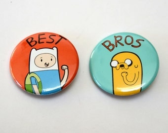 Adventure Time Buttons with Finn and Jake / Fionna and Cake - Best Friends