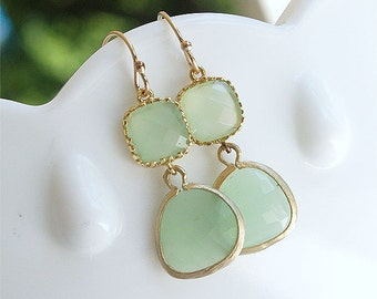 Mint Green Dangle Earrings in Gold - Minty Spring Green on Gold Filled Earwire - Gifts, Bridesmaid Earrings, Bridal