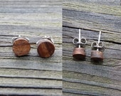 Wood Stud Earrings Handmade Santos Rosewood w/ Stainless Steel Posts