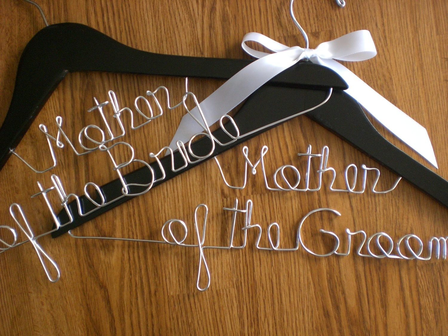 set of 2 wedding hangersmother of the wedding hangers zoom