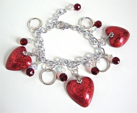 Red heart resin bracelet - red glitter bracelet - heart bracelet -  resin charm bracelet - resin jewelry