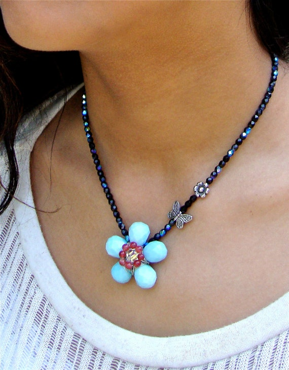 Unique blue flower necklace set - woven flower statement necklace - garden inspired summer jewelry by Sparkle City Jewelry