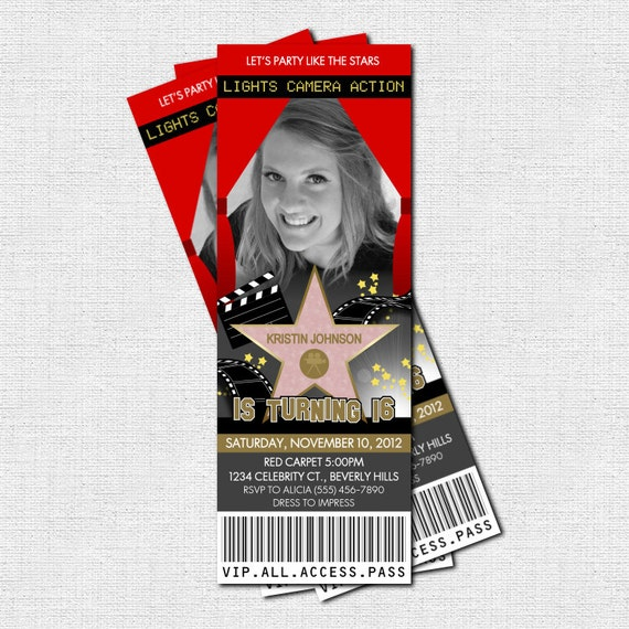 Hollywood Ticket Invitations Red Carpet Party Bonus By
