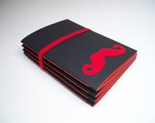 Red Moustache Notebook - set of four, red blank pages