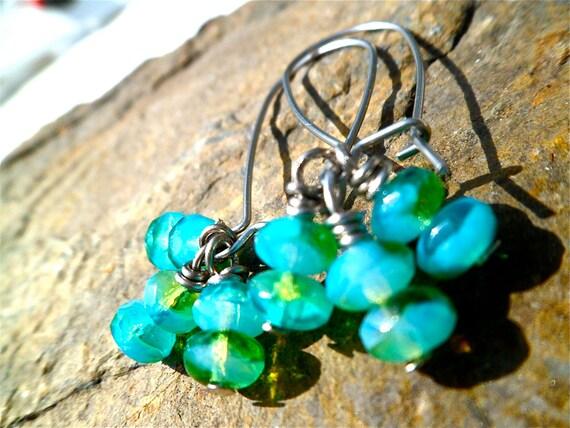 turquoise emerald earrings, emerald and turquoise earrings, dangle earrings.