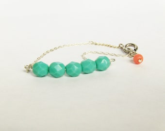 Mint and coral bracelet in Silver - Minimalist Jewelry