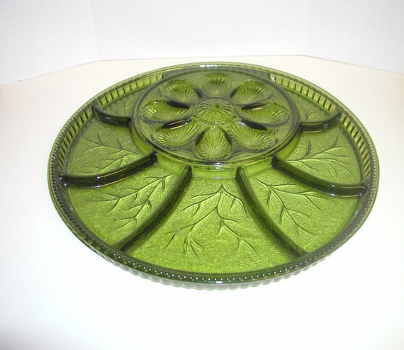 Avocado Green Indiana Glass Deviled Egg and Relish Plate/Tray