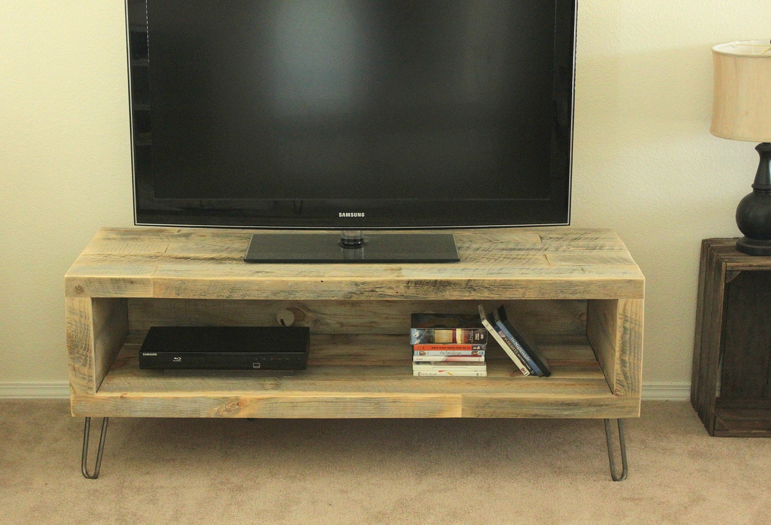 Reclaimed wood media console tv stand long