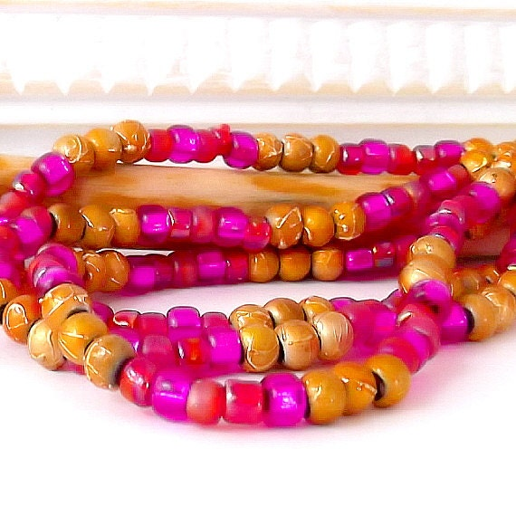 Gypsy Glass Bead Mix - Golden Magenta Sunset