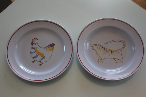 Childrens dinner plate and bowl Animal Kingdom pattern, by Arabia Finland