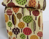 Reusable Lunch Bag - Magnetic Snap - Trees Print - Back to School