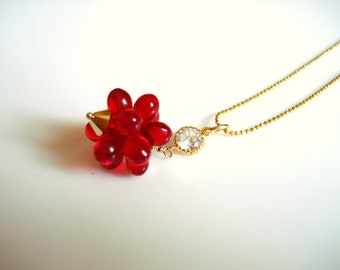 Brilliant Red Glass Blossom Gold and CZ Accent Necklace