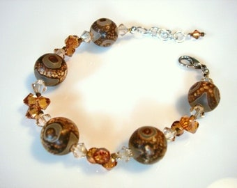 Intriguing Artifact Agate and Swarovski Crystal Bracelet