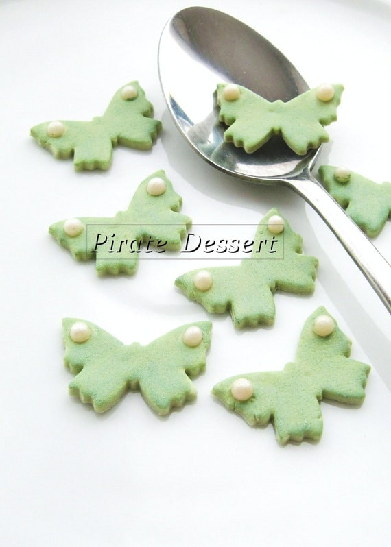 Edible Cupcake topper - mini SAGE GREEN Butterfly Fondant toppers - one inch (25 mm) width - Edible cake decorations (12 pieces)