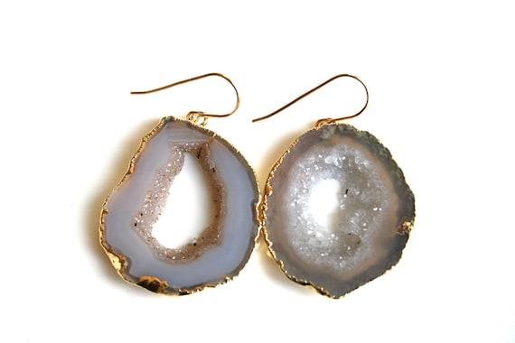 Pale Geode Druzy Earrings on Gold Filled Ear Wire