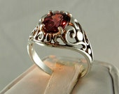 Pink Zircon Ring, Sterling Silver, 2.85 carat, Pink, New Filigree Vintage Reproduction, SIZE 7 1/2