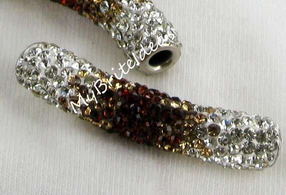 One (1) Tri Color Pave Tube Gradient Colors Brown, Gold and Crystal -inside- - Beads Jewelry Supplies Crafting Supplies Jewelry Making