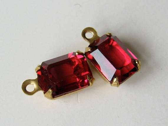 2 Ruby Red Swarovski Octagon rectangle Crystals Set in Brass with RIng 8x6 mm