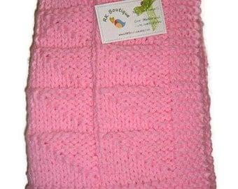 Stroller Pram Baby Girl Blanket...Handknit Pink Baby Afgan