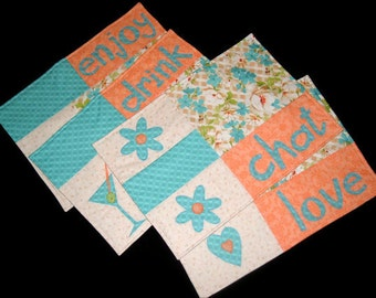 Placemats•Set of Four•Blue, Peach•Floral•Reversible•Contemporary•Modern•Fun Applique•Enjoy•Chat•Drink•Love