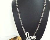 Silver pave love necklace
